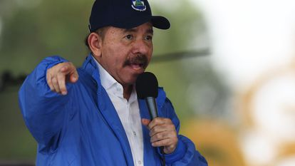 El presidente de Nicaragua, Daniel Ortega, en un acto público en 2018, en Managua.
