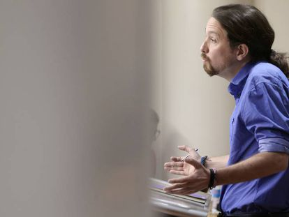 Pablo Iglesias durante la rueda de prensa.