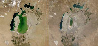 Imágenes tomadas por satélite del mar de Aral. A la izquierda en de agosto de 2000, a la derecha, en agosto de 2018.
