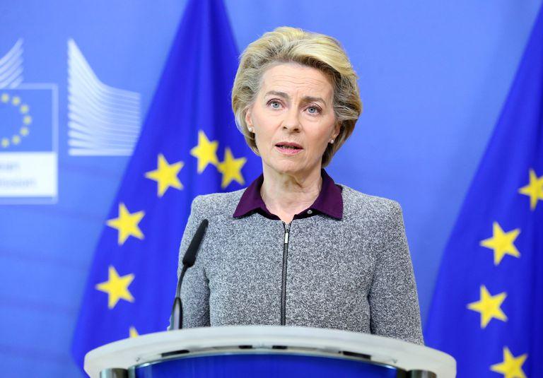 La presidenta de la Comisión, Von Der Leyen, durante una rueda de prensa en Bruselas la semana pasada.