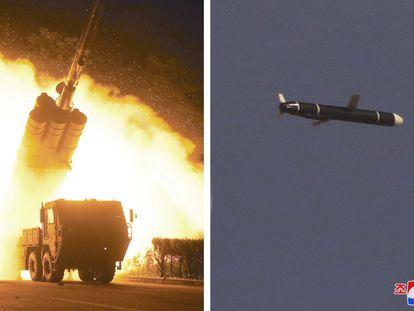 Captura de televisión donde se muestra el lanzamiento de misiles desde Corea del Norte, este lunes.