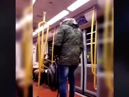 Fotograma del vídeo distribuido por Policía Nacional sobre la agresión racista del Metro