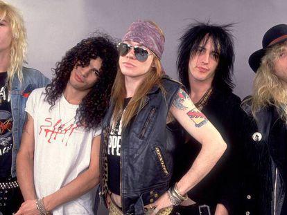 Duff McKagan, Slash, Axl Rose, Izzy Stradlin y Steven Adler. Guns N' Roses en 1987, el año en el que se grabó 'Appetite for destruction'.