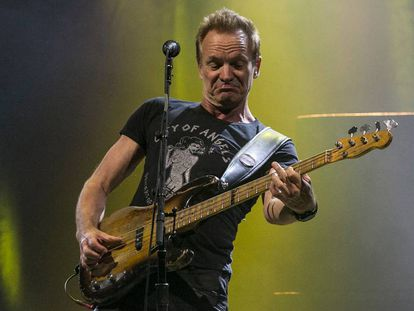 Sting, durante el concierto de anoche en el Sant Jordi Club de Montjuïc (Barcelona).