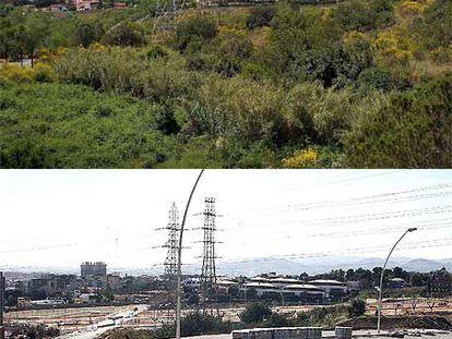 La zona de Esplugues de Llobregat, antes y después del proceso de urbanización.
