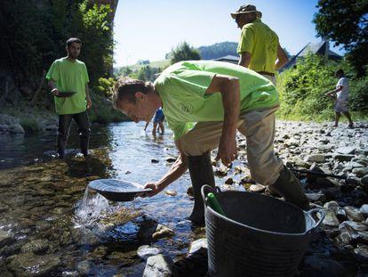 Ismael Sanfiz busca oro en el río Navelgas con otros bateadores al fondo.