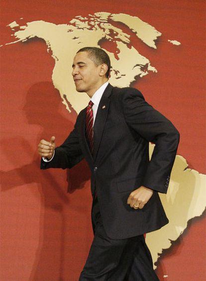 Obama, antes de su discurso en la Cámara de Comercio Hispana.