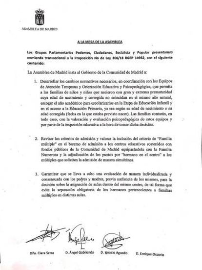 La proposición no de ley aprobada por la Asamblea de Madrid.