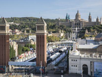 Recinto de la Fira de Barcelona en Montjuic, lugar donde se celebró la Exposición Internacional de 1929.