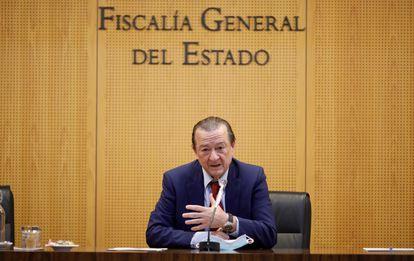 El fiscal coordinador de Seguridad Vial, Bartolomé Vargas, durante la rueda de prensa este jueves en la sede de la Fiscalía en Madrid.