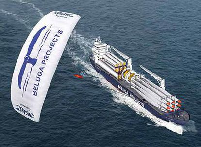 El barco <i>Beluga Skysail</i>, propulsado con combustible y a través de una vela, reduce la emisión de CO2.