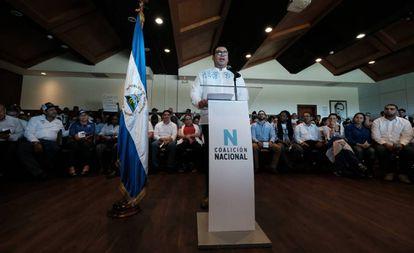 El líder Yubrank Suazo, en la presentación de la Coalición Nacional de Nicaragua este martes.
