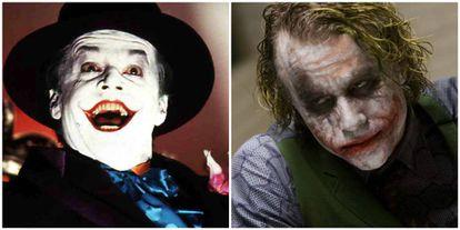 Jack Nicholson y, a la izquierda, Heath Ledger, interpretando a The Jocker en diferentes películas de 'Batman'.
