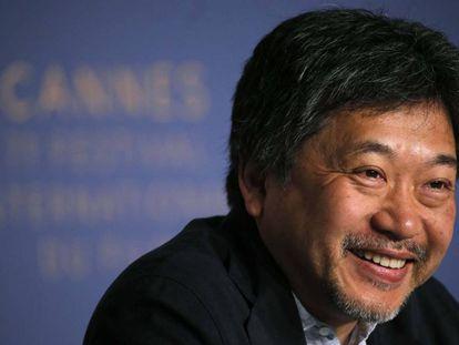 Hirokazu Kore-eda, el pasado lunes en la rueda de prensa de presentación de 'Shoplifters' en Cannes.
