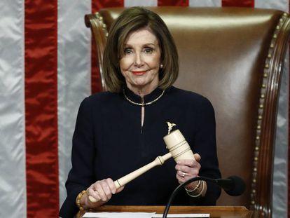 La presidenta de la Cámara de Representantes, Nancy Pelosi, tras la votación.