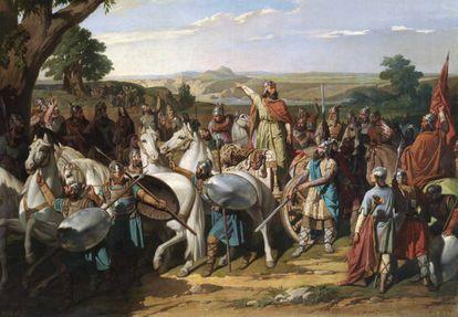'El rey don Rodrigo arengando a sus tropas en la batalla de Guadalete', de Bernardo Blanco.