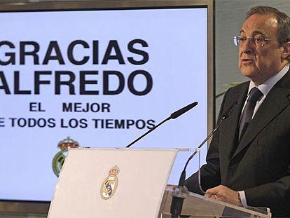 Florentino Pérez, durante su comparecencia ante los medios.