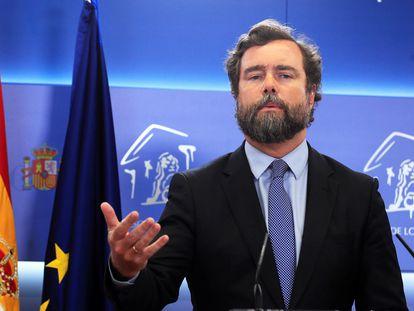 El portavoz de Vox, Iván Espinosa de los Monteros, durante la conferencia de prensa de este martes tras la reunión de la Junta de Portavoces del Congreso.