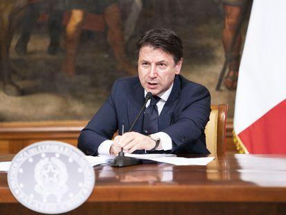 Giuseppe Conte, primer ministro italiano, el lunes tras un Consejo de Ministros en Roma.