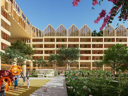 Imagen virtual de las viviendas de Vicente Guallart, ganador de un concurso para construir un conjunto de viviendas para 3. 000 personas en Xiong' an, a 100 kilómetros de Pekín.