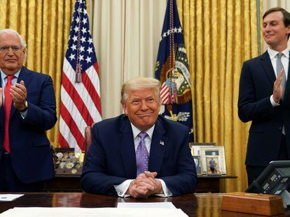 Trump, durante el anuncio del acuerdo entre Israel y Emiratos Árabes Unidos.