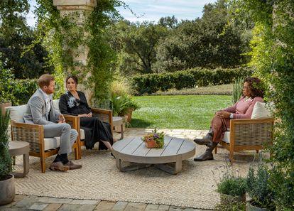 Los duques de Sussex, durante la entrevista.