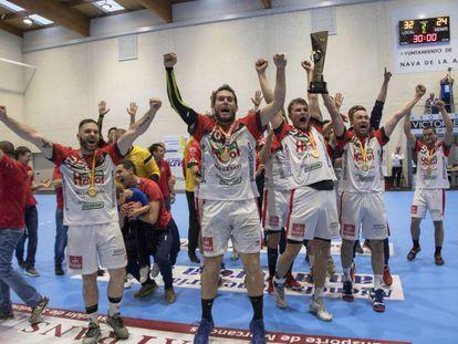 Los jugadores del Viveros Herol celebran su ascenso a la Liga Sacyr ASOBAL en 2019.