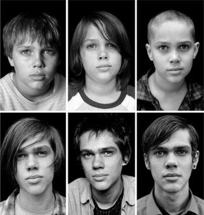 El actor Ellar Coltrane, en seis de los 12 años de su adolescencia que retrata 'Boyhood'.