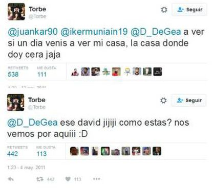 Algunos de los mensajes de Twitter que se intercambiaron Torbe, Muniain y de Gea entre 2011 y 2012.