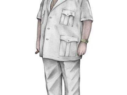 Ilustración de Jesús Gil con uno de sus típicos modelos. El escote de la camisa dependía del grosor de la cadena de oro.