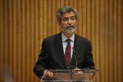 El presidente del CGPJ, Carlos Lesmes, durante su intervención en una jornada en el Congreso de los Diputados, el pasado mayo.