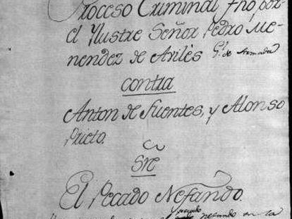 """Proceso contra Antón Fuentes y Alonso Prieto por """"pecado nefando"""" en 1562, conservado en el Archivo General de Indias."""