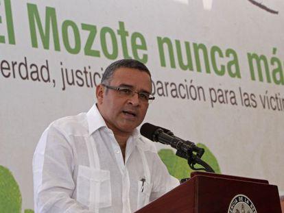 El presidente de El Salvador, Mauricio Funes, durante la ceremonia del 20º aniversario de la firma de los acuerdos de paz.
