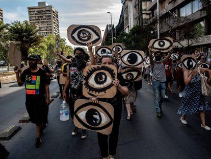 Manifestantes en Chile.