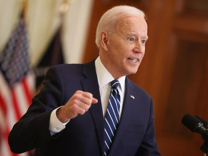 El presidente de EE UU, Joe Biden, durante su primera rueda de prensa oficial en la Casa Blanca, este jueves.