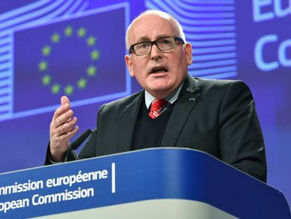 El vicepresidente de la Comisión Europea, Frans Timmermans, este miércoles en Bruselas