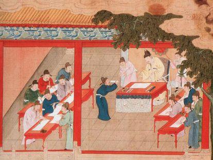 Pintura de la época de la dinastía Song (960-1279) que representa un examen imperial.