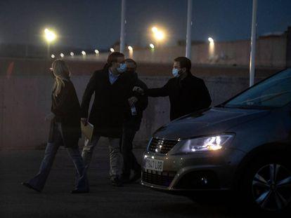 Artadi, Jove, Rius y Aragonès a su salida de una reunión el 27 de abril en Lledoners.