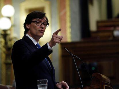 El ministro de Sanidad, Salvador Illa, durante su intervención en el pleno del Congreso este jueves.