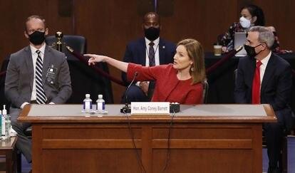 La candidata al Supremo Amy Coney Barrett, ayer en el Capitolio.