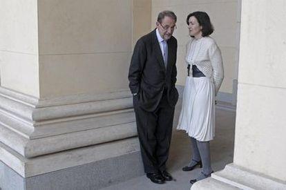 El ex ministro, Javier Solana, junto a la actual responsable de la cartera de cultura, Ángeles González-Sinde