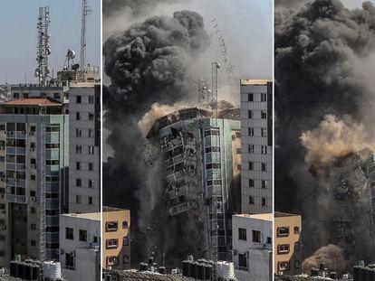 Combo de imágenes donde es destruído la torre de 12 de plantas, sede de la agencia de noticias estadounidense Associated Press (AP) y de la cadena de televisión catarí Al Jazeera.