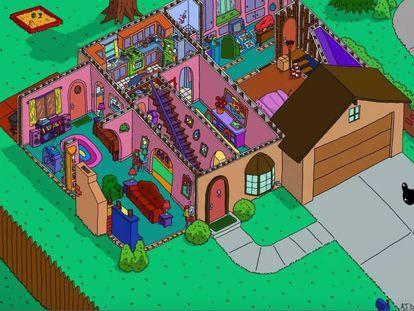 Recreación de la casa de Los Simpson del ilustrador Andrew Delong.
