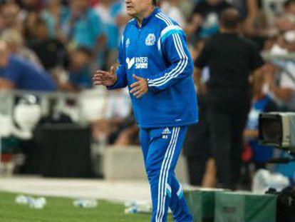 Marcelo Bielsa, durante un partido del Olympique de Marsella.