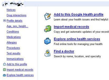 Aspecto de la página de inicio de Google Health
