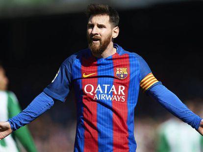 Messi, este domingo, frente al Betis.
