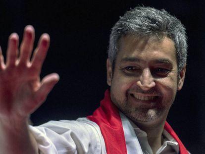 Mario Abdo Benítez el jueves, durante el cierre de campaña del Partido Colorado en Itaguá, en las afueras de Asunción.