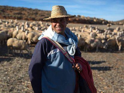 un pastor posa en los campos del pueblo de Alfambra, Teruel.