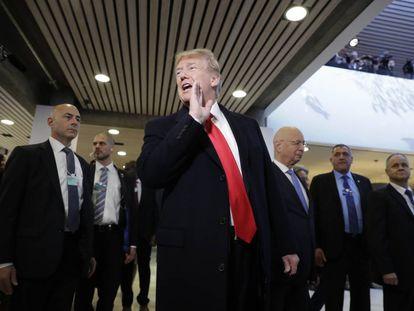 El presidente de EE UU, Donald Trump, durante la reunión anual del Foro Económico Mundial en Davos, Suiza.