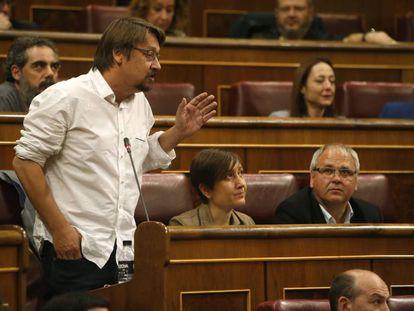 Xavier Domènech, en una sesión de control al Ejecutivo celebrada en el Congreso.